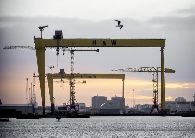 Sunset over the Harland and Wolff cranes in Belfast