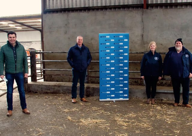 Sponsor Seamus McCormick of Danske Bank - Agri Business Manager Ballymena Branch with Stephen and Sandra Gowdy from Carrickfergus and Jeremy Paynter from NI Charolais Club)
