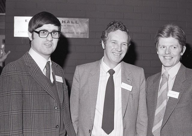 """Dr Raymond Steen, Research Institute, Hillsborough, Mr Sam Marsden, Ballycarry, and Dr David Leaver, who were speakers at the Ulster Grassland Society conference which was held at Balmoral in February 1982. Mr Steen emphasised the need for a """"more planned systematic approach"""" to beef production in Northern Ireland. Picture: Farming Life archive"""