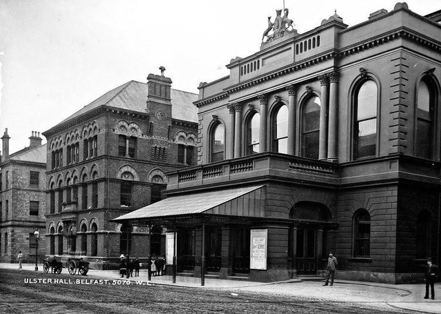 Ulster Hall, Belfast, Co Antrim. NLI Ref: L_CAB_05070. Picture: National Library of Ireland