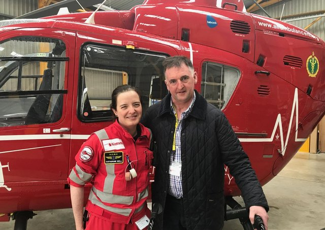 George Haslett, Claudy farmer who was treated by the Air Ambulance NI HEMS team and is one patient that has inspired the charity's agribusiness group who will raise funds and awareness.