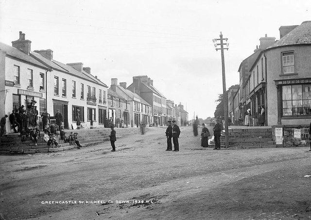Greencastle Street, Kilkeel, Co Down. NLI Ref.: L_CAB_01936. Picture: National Library of Ireland