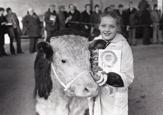 Eleven-year-old Ruth Smiley from Carrickfergus, Co Antrim, with a prize winning Hereford owned by her uncle Mr John Barron. Picture: Randall Mulligan/Farming Life archives
