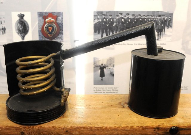 Device for instructing officers on how poteen was made at the Police Museum at Knock Headquarters. Picture: Declan Roughan/Presseye/News Letter archives