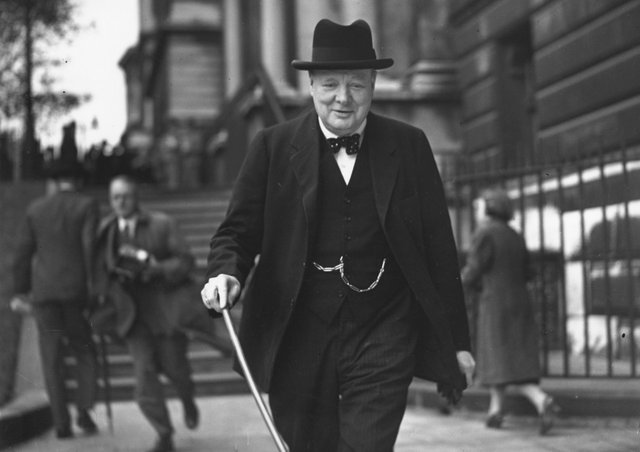 May 1941: Winston Churchill, British war time Prime Minister, walking on a London street. Picture: Keystone/Getty Images