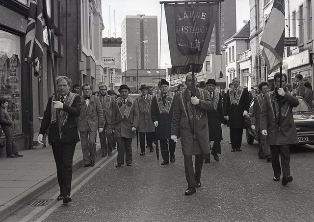 Officebearers head the parade through Larne to a meeting in the Orange Hall in February 1982. Picture: News Letter archives