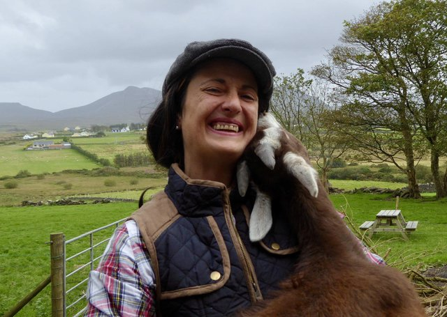 Isabella Rowatt and her goat on her farm in Donegal