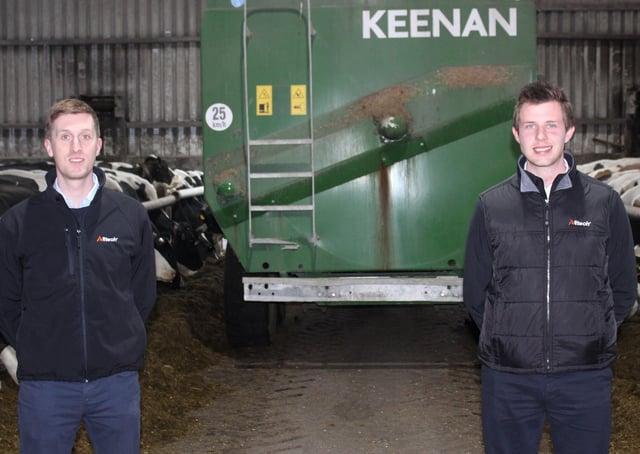 Alltech's Richard Dudgeon out on farm with Keenan's Gareth McAllister