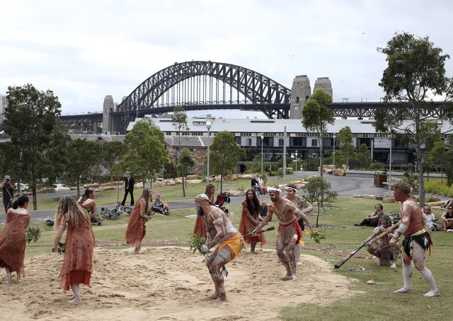 Traditional Aboriginal dancers perform a ceremony on Australia Day in Sydney, Australia, in January 2016. Australia Day is the anniversary of the arrival and landing of the First Fleet of convict ships from Great Britain, and the raising of the Union Jack at Sydney Cove by Captain Arthur Phillip, on January 26, 1788. Picture: AP Photo/Rob Griffith