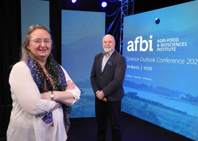 Pictured are Elizabeth Magowan AFBI Director of Sustainable Agri-Food Sciences Division and Colin Coffey, AFBI Chair