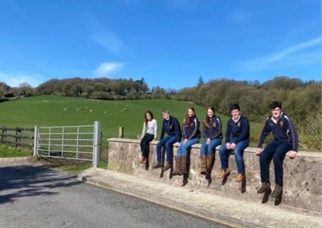 Pictured from left is Omagh Academy Teacher Adele Lennox with her ABP Angus Youth Challenge team representing the school, James Fleming, Jill Liggett, Tori Robson, Joshua Keys and Allister Crawford