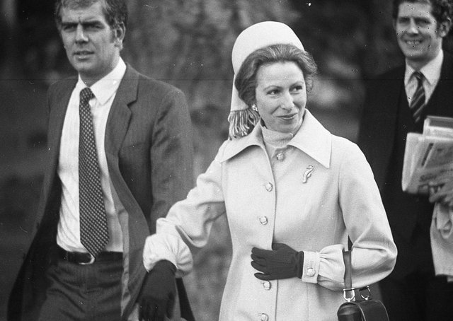 Princess Anne looking relaxed in powders blue, walks to the helicopter to leave Hillsborough in March 1982. Picture: Bob Hamilton/News Letter archives