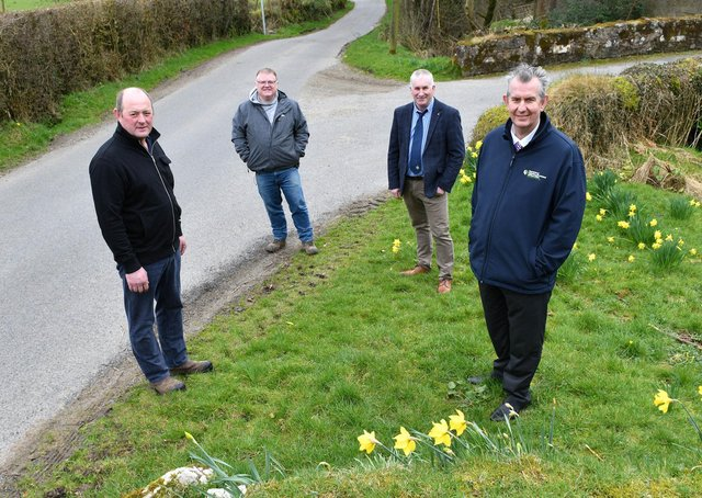 Left to right: Farm owner Drew Fleming, Declan McAleer MLA, President Ulster Farmers' Union Victor Chestnutt, DAERA Minister Edwin Poots MLA.