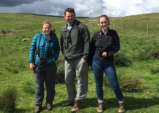 RSPB NI's Katie Gibb, pictured on the left, with her colleagues Neal Warnock and Hollie Fisher