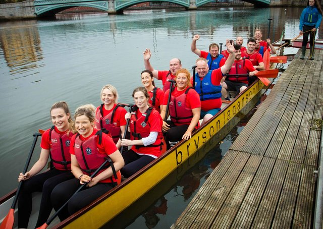 CAFRE's Agriculture Education Team recently competed in the 2021 Dragon Boat Race on the River Lagan raising £3250 for the Air Ambulance NI charity. Front to back: Sophie Tyner, Naomi Jones, Carrie Smith, Eileen McCloskey, Roisin McCurry, Carla Heaslip, Peter Verhoeven, Brian Robson, Philip Higginson, Jonny Gillespie, Malachy Morgan, Phelim Savage, Philip Holdsworth, John Fegan and Joe Mulholland.