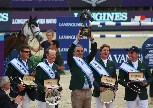 Reigning FEI Nations Cup champions Ireland pictured following victory in the 2020 FEI Nations Cup final in Barcelona (ESP)  in 2020.  (Left to right) Paul O'Shea, Peter Moloney, Rodrigo Pessoa, Darragh Kenny and Cian O'Connor. (Photo: Sonya Hennessy)