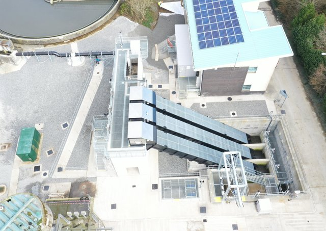 Aerial image of Strabane Wastewater Treatment Works, which is a key site that has been upgraded as part of the EU-funded INTERREG VA SWELL project.