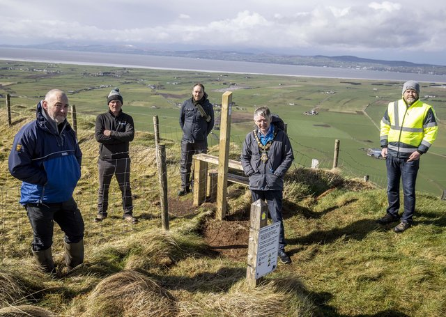 The Mayor of Causeway Coast and Glens Borough Council Alderman Mark Fielding pictured at Gortmore Viewing Point with (left-right), Richard Gillen (Coast and Countryside Manager), Stephen Campbell (Campbell Civils), Mark Strong (Coast and Countryside Officer) and Gregg McClements (Capital Projects Officer).