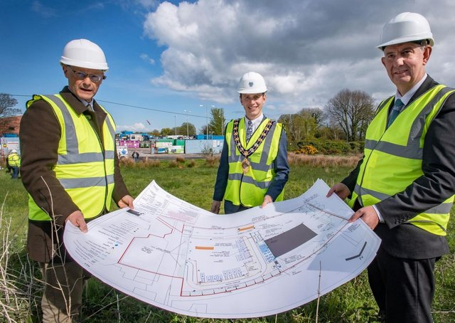 Left to right: Philip Thompson, Mid and East Antrim Borough Council Director of Operations, Mayor of Mid and East Antrim Borough Council, Councillor Peter Johnston and DAERA Minister Edwin Poots MLA.