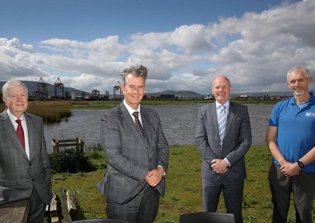Pictured at the RSPB's 'Window on Wildlife', Belfast, are (from left-right) David Dobbin, Chairman, Belfast Harbour, Environment Minister Edwin Poots MLA, Joe O'Neill, Chief Executive, Belfast Harbour and Gregory Woulahan, RSPB. Picture: William Cherry PressEye