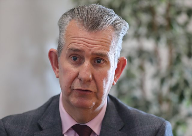 New DUP leader Edwin Poots speaking to PA Media at the party's offices in Stormont Parliament Buildings. Picture date: Tuesday May 18, 2021.