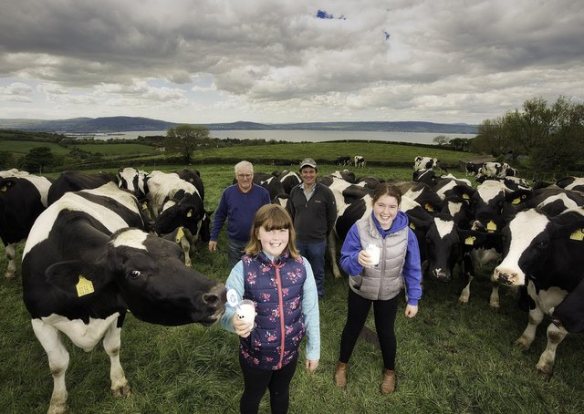 The 1st June marks the 21st anniversary of World Milk Day and with this yearâ€TMs theme of sustainability, the sector is highlighting how Northern Ireland dairy meets the four dimensions that must be considered in a sustainable diet: the environmental footprint, nutritional value, economy and food culture. Three generations of the McCullough family whose herd of 107 happy cows at Holywood, Co. Down embody sustainable dairy farming in Northern Ireland. Pictured L-R are Alex, Megan, William and Rachel McCullough.