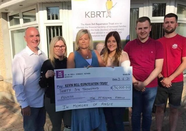 The family of Angie McKeown who raised £36k for the Kevin Bell Repatriation Trust.