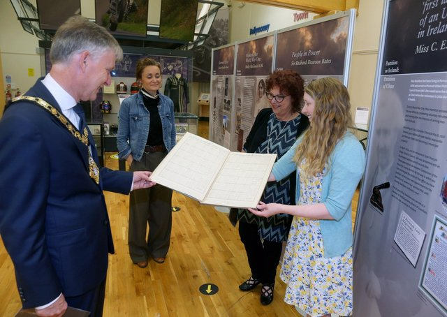 The Mayor of Causeway Coast and Glens Borough Council Alderman Mark Fielding views some of the material on display in the Partition in Ireland: Partition of Ulster exhibition at Ballymoney Museum with Helen Perry, Jamie Austin from Museum Services and Nina McNeary.