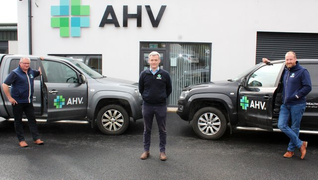 AHV managing director Adam Robinson (centre) with territory mangers Paul Marrs (left) and George Sherlock (right)