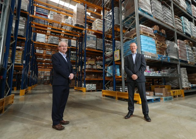 Pictured inside Henderson Foodservice's new £16 million warehouse facility are Pat McGarry (left) Henderson Group Logistics and Distribution Director and Cathal Geoghegan, Managing Director of Henderson Foodservice.