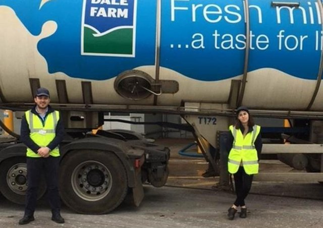 Megan Cole, CAFRE student and her work placement mentor CAFRE graduate Andrew Lyons, at the Dale Farm, Dunman site