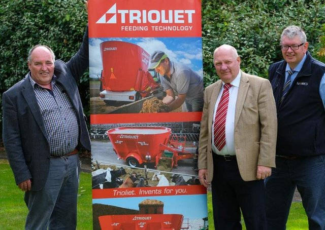 Holstein NIâ€TMs Gaston Wallace, left, and club secretary John Martin, right, confirm sponsorship of the herds inspection the competition with Padraig Oâ€TMKane, Trioliet area sales manager Ireland, Picture: Columba Oâ€TMHare