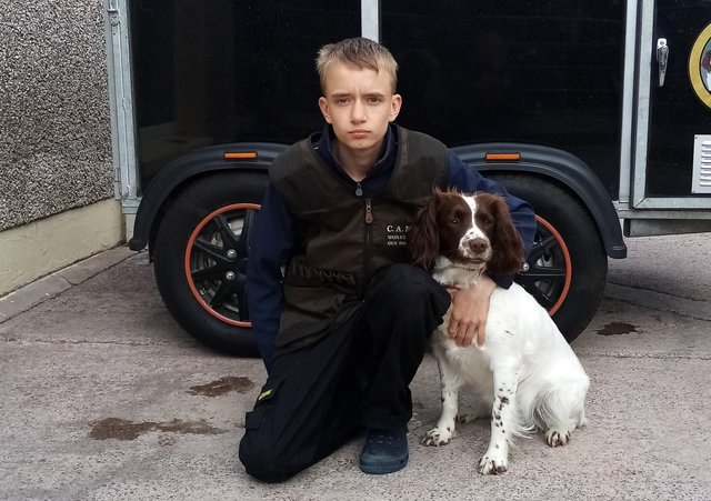 Christopher Kane from Fivemiletown and his dog Heather. Christopher and his family are very concerned about new EU requirements to worm Heather every time he takes her to competitions in England.