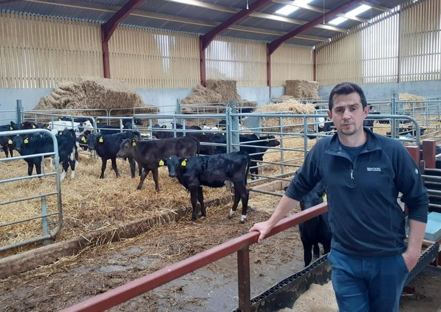 Stephen Maguire from Maguiresbridge , Co Fermanagh, one of the Beef Grassland Management Technology Demonstration Farmers, pictured in his new calf house