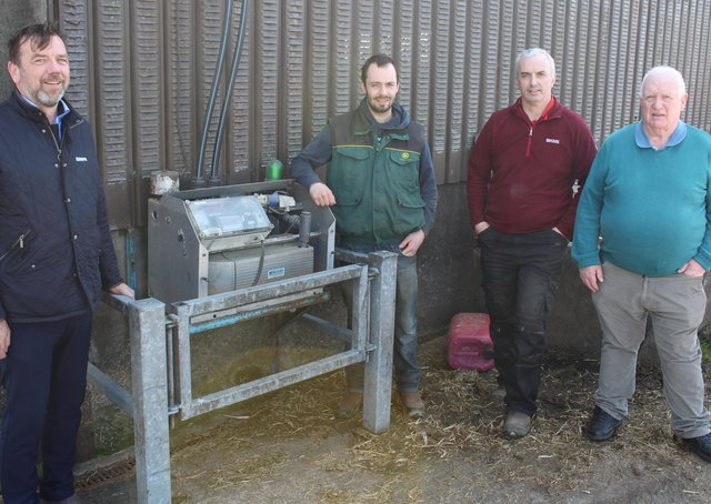 Easyfix's Enda Corrigan chatting to Ronan, Sean and MalachyConnolly, from Loughgiel in Co Antrim, about the benefits of the newEasyfix slurry aeration system