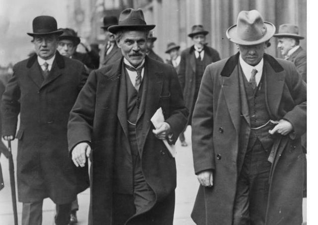 British PM Ramsay Macdonald, pictured, second from left