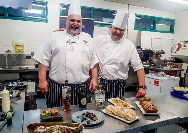 SERC Chefs, Brian Magill (left based at Bangor Campus) and Thomas McCluney (right based at Ards Campus), hosted a masterclass in traditional Irish breads in a live webinar for students at The Hong Kong Polytechnic University (PolyU), Hong Kong which was organised through Invest NI's Hong Kong office which offered NI Colleges the opportunity to build a collaborative link with PolyU School of Hotel and Tourism Management  in Hong Kong as part of its international culinary outreach programme.