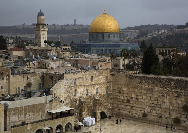 A view of the Western Wall and the Dome of the Rock, some of the holiest sites for for Jews and Muslims, is seen in Jerusalem's Old City, from December 2017. Picture: AP Photo/Oded Balilty