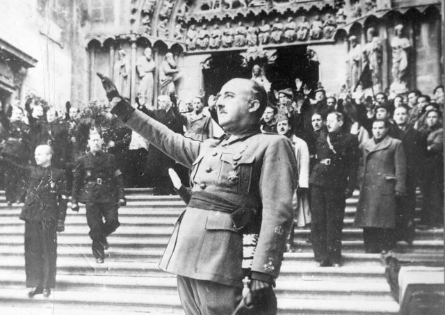 General Franco at Burgos Cathedral after attending the Requiem for the late Primo de Rivera, founder of the Nationalist Movement in Spain