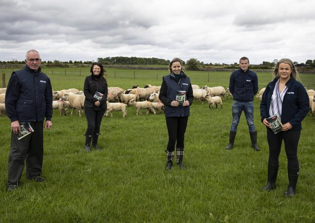 21/5/2021; Farmer, PJ Finnerty, left with Ruth Dalton, Musgrave Technical manager, Sorcha Donnelly, Sales director Ireland, Kepak, David Mannion, livestock procurement manager Kepak, and Nicola Herron, Technical manager at Kepak in Brideswell, Co. Roscommon as Musgrave together with Kepak launch their †̃Lamb Producer Guidelinesâ€TM booklet. These guidelines are a link between producers and consumers and provide advice and guidance to farmers. Co. Roscommon. Pic credit; Damien Eagers Photography