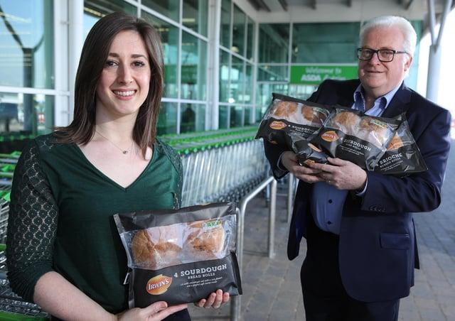 Emma Swan, Asda's Buying Manager for NI Local and John Hopkins, Sales Director at Irwin's Bakery.