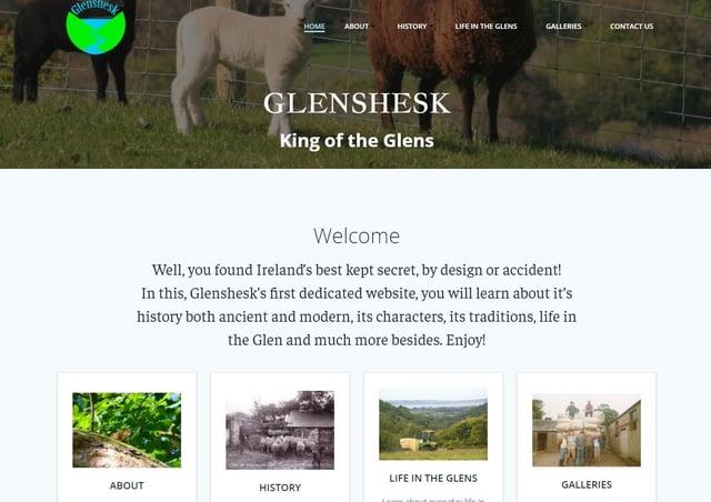 A screenshot of Glenshesk Front WebPage