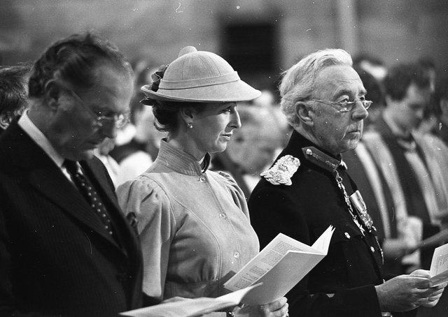Princess Alexandra stands for hymn singing beside Secretary of State Humphrey Atkins, left, and the Lord Lieutenant for Belfast Lord Glentoran during the consecration service in St Anne's Cathedral in June 1981. Picture: Trevor Dickson/News Letter archives