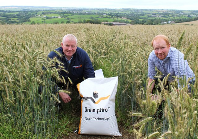 Grain pHro+  consultant Aonghus Giggins (right) discussing the benefits of the product with Paul Sloan of Tullyherron Farm Feeds