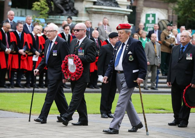 Veterans lay a wreath in the grounds of Belfast City Hall during the 101st anniversary of the Battle of the Somme in 2017. Picture: Kelvin Boyes/Press Eye