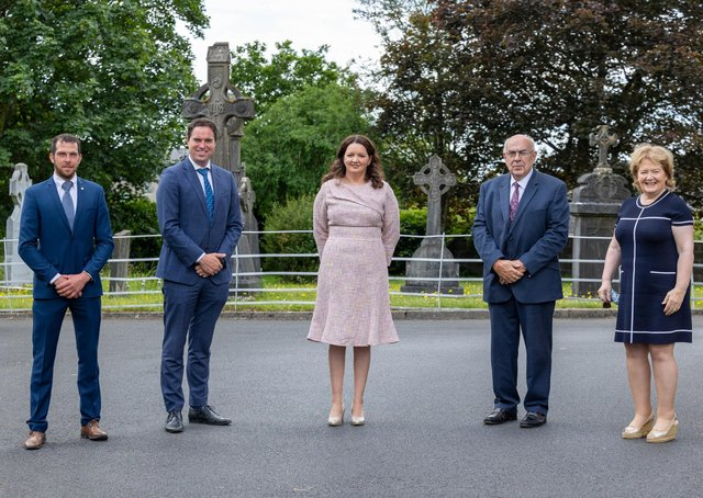 Pictured (left to right) are John Keane, National President of Macra Na Feirme, Martin Heydon TD, Minister for State at the Dept. of Agriculture, Food and the Marine with special responsibility for Farm Safety etc.  Norma Rohan, co-founders of Embrace Farm with Liam McCarthy, Portaferry, Co. Down and ABP group, Mairead Lavery, Agri VIP and key note speaker at the service.