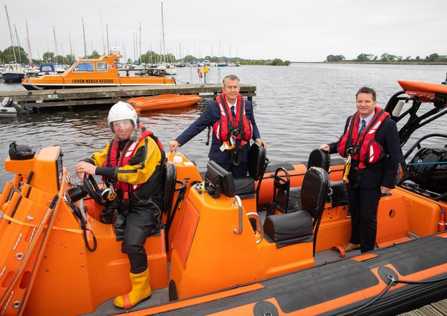 DAERA Minister Edwin Poots pictured with Philip Smyth – Director, Lough Neagh Rescue and Alderman Glenn Barr, Lord Mayor, ABC Borough Council.