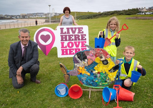 Minister Poots is pictured with Conal Murphy from Mill Strand Integrated Primary. Photo by Aaron McCracken