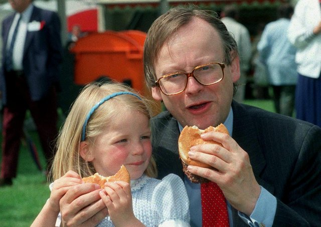 English Minister of Agriculture John Gummer tried to reassure the nation over BSE in 1990 by feeding a beefburger to his daughter Cordelia. Photo: PA