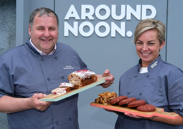 Steve Fogo, General Manager at Around Noon Bakery, pictured with Ciara Byrne, Head of NPD. (Photograph: Columba O'Hare/Newry.ie)